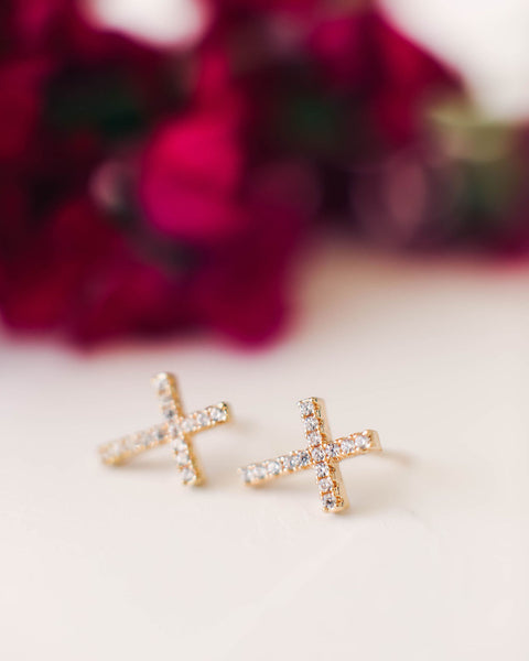 MARRIN COSTELLO - Rhinestone Cross Studs - Gold