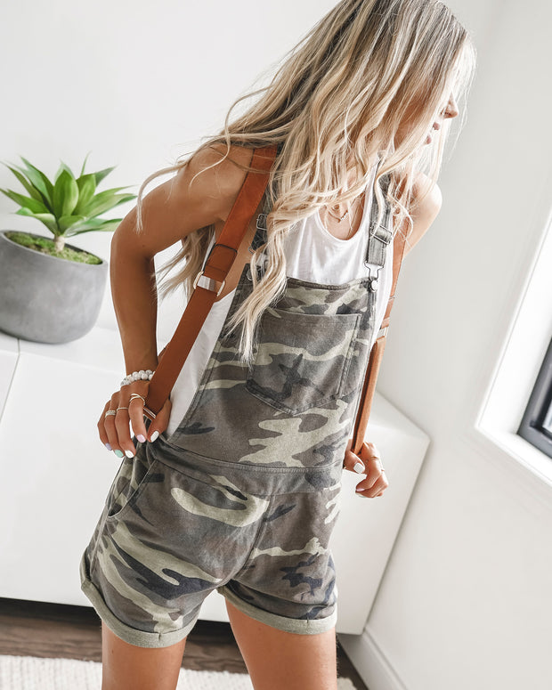 Can't Find Me Camo Pocketed Overall Shorts