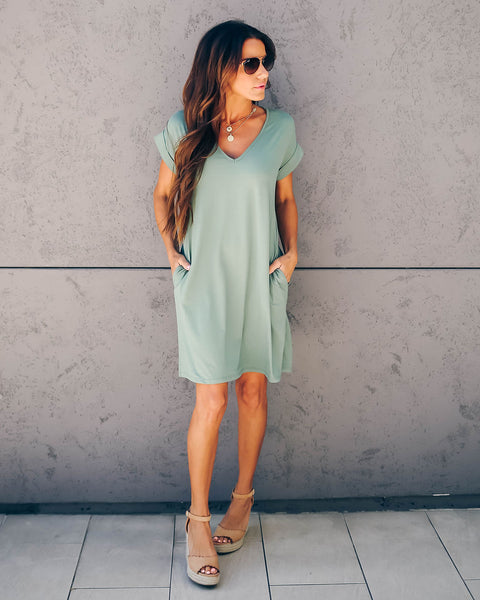 Lounge Around Pocketed T-Shirt Dress - Army