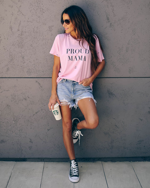PREORDER - Proud Mama Distressed Cotton Tee