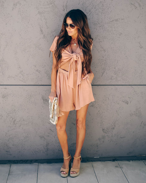 Jules Pocketed Tie Front Romper - FINAL SALE