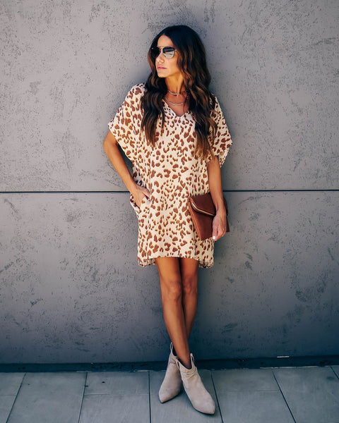 Keenan Satin Pocketed Leopard Tunic