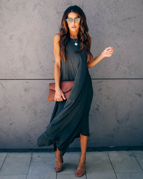 Nashville Cotton + Modal Midi Tank Dress - Charcoal