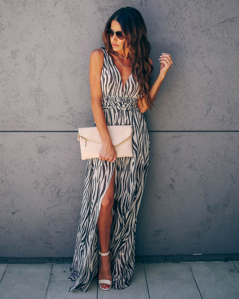 Places I've Been Zebra Print Slit Maxi Dress