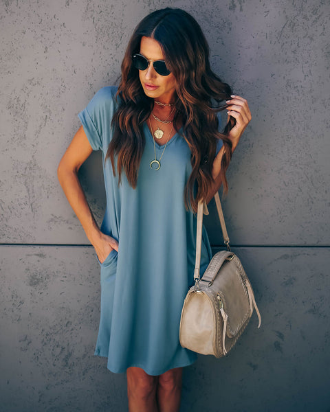 Lounge Around Pocketed T-Shirt Dress - Slate