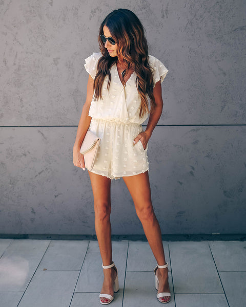 Boba Pocketed Drape Romper - Cream