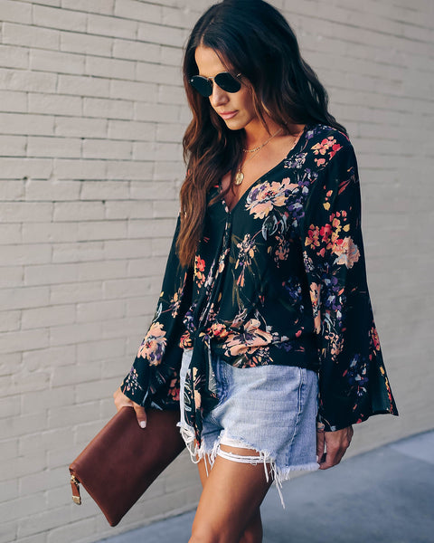 Unlikely Match Floral Tie Top