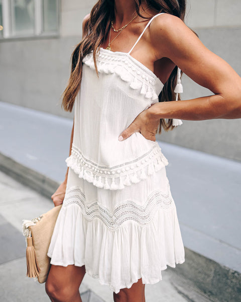 Lydia Crochet Tassel Tie Dress