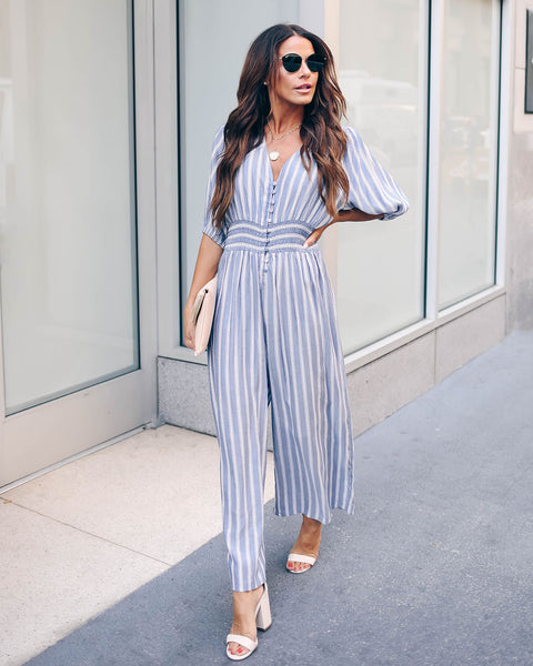 Spencer Striped Smocked Button Down Jumpsuit