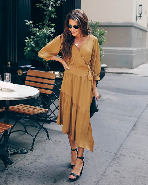 New Season Satin Asymmetrical Wrap Dress - Camel
