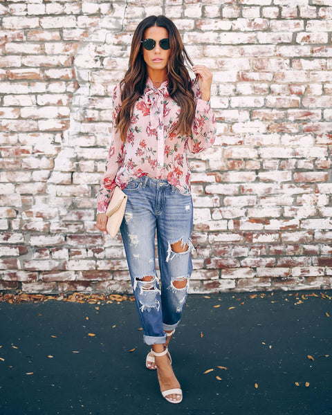 Carnation Silk Floral Statement Blouse - FINAL SALE