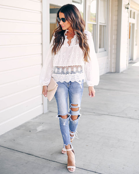 Coachella Valley Embroidered Crochet Blouse - FINAL SALE