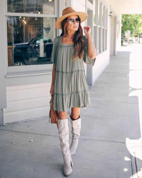 Chopra Crochet Tiered Dress - Olive - FINAL SALE