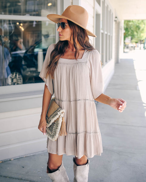 Chopra Crochet Tiered Dress - Sand - FINAL SALE