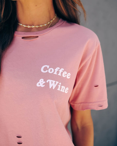 Coffee + Wine Distressed Cotton Tee