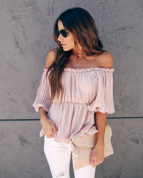 In Your League Pleated Off The Shoulder Top - Rosewater - FINAL SALE