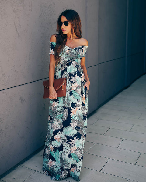 Woman In Love Pocketed Off The Shoulder Maxi Dress - FINAL SALE