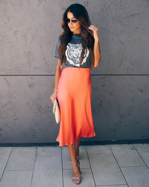 Silken Splendor Midi Skirt - Punch