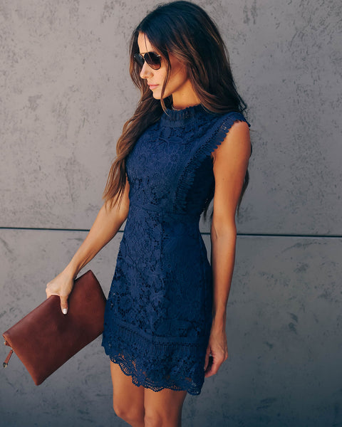 Amélie Crochet Lace Dress - Navy
