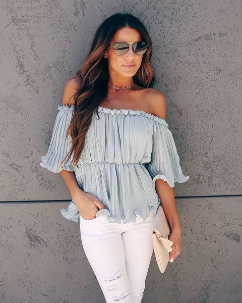 In Your League Pleated Off The Shoulder Top - Waterlily - FINAL SALE