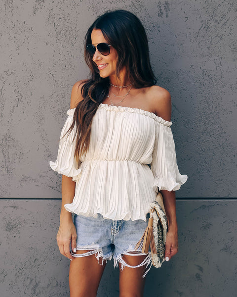 In Your League Pleated Off The Shoulder Top - Bamboo Cream - FINAL SALE