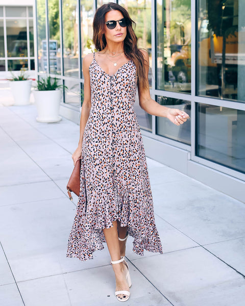 News Travels Fast Leopard High Low Maxi Dress