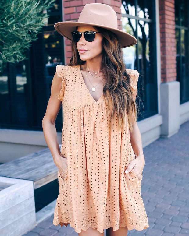 Angel Babe Cotton Eyelet Pocketed Dress - Honey - FINAL SALE