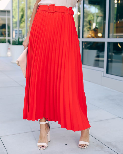 High Note Pleated Belted Midi Skirt - Red