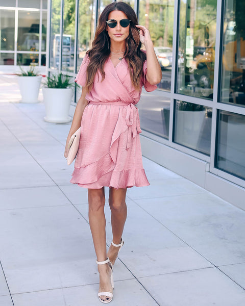 Talking Smooth Ruffle Tie Dress - Mauve