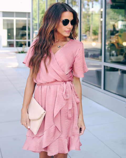 Talking Smooth Ruffle Tie Dress - Mauve - FINAL SALE