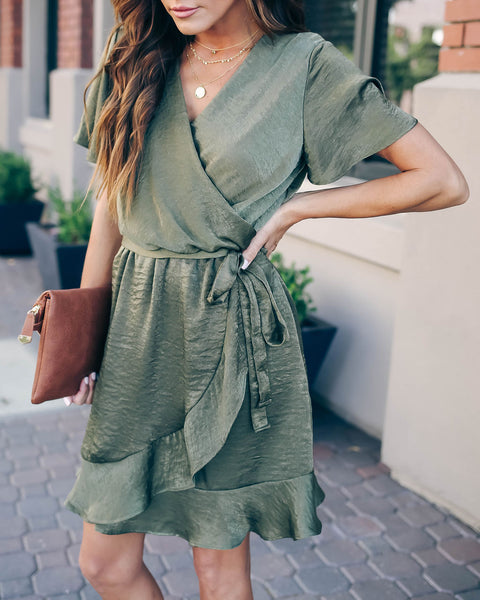 Talking Smooth Ruffle Tie Dress - Olive