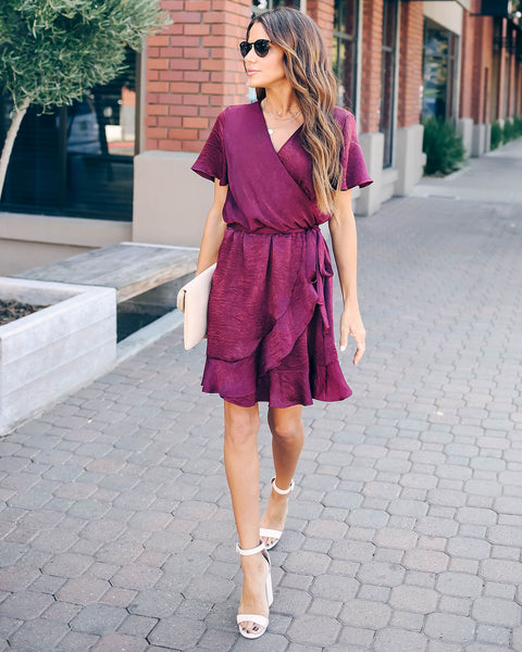 Talking Smooth Ruffle Tie Dress - Raisin - FINAL SALE