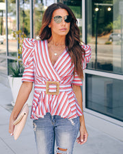 Somewhere Warm Belted Puff Sleeve Peplum Top - FINAL SALE