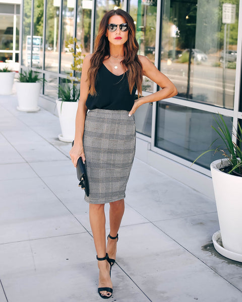 Calling All City Girls Plaid Pencil Skirt - FINAL SALE