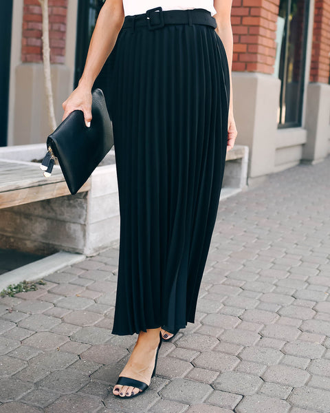 High Note Pleated Belted Midi Skirt - Black - FINAL SALE