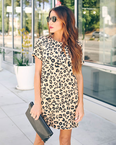 Front Runner Pocketed Leopard Mini Dress
