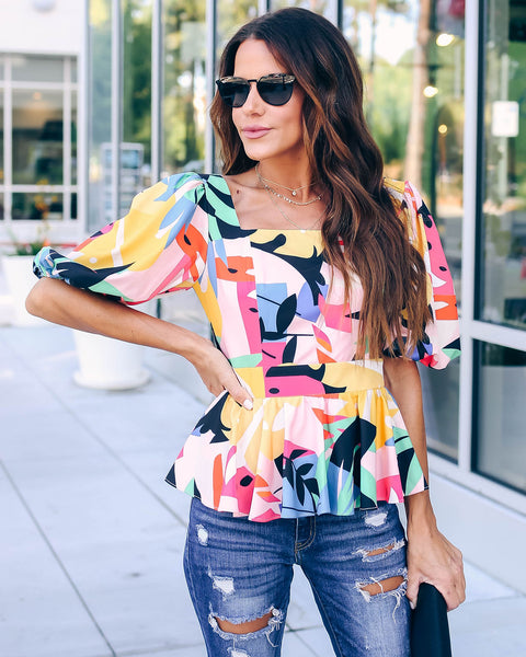 Picasso Abstract Print Peplum Top  - FINAL SALE