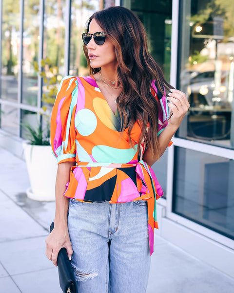 Freelance Puff Sleeve Wrap Top