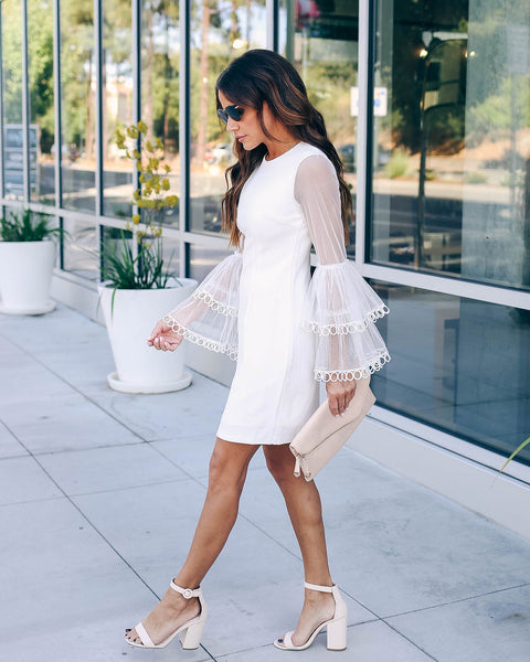 Here She Comes Lace Bell Sleeve Dress - White - FINAL SALE
