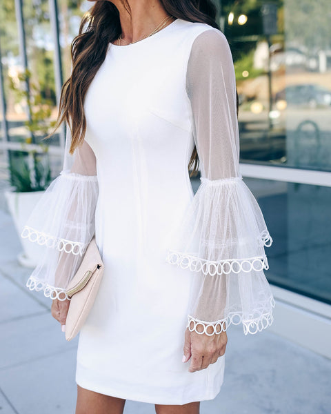 Here She Comes Lace Bell Sleeve Dress - White
