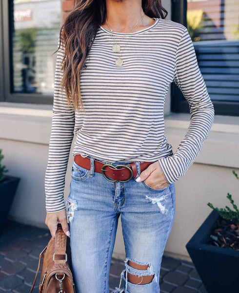 Gina Long Sleeve Striped Knit Top