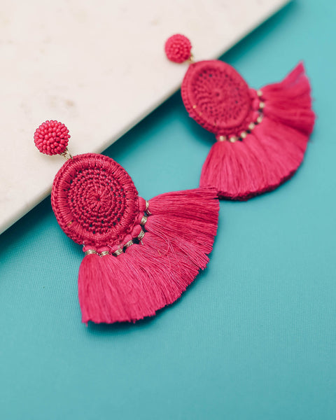 Serefina Beaded Woven Tassel Earrings - Pink