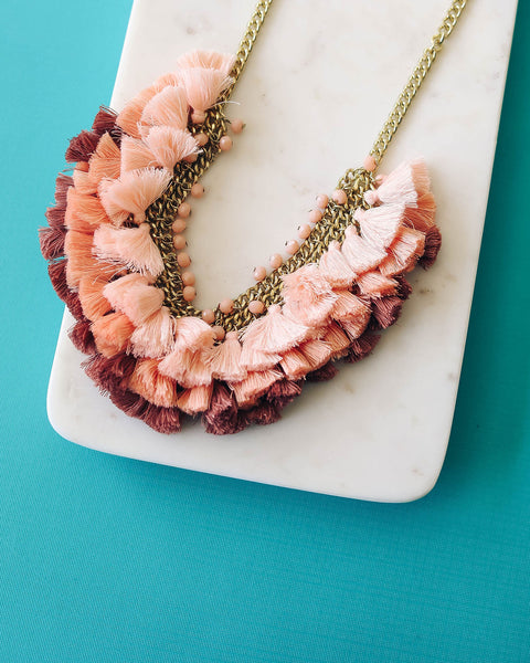 Sun Soaked Ombre Tassel Statement Necklace