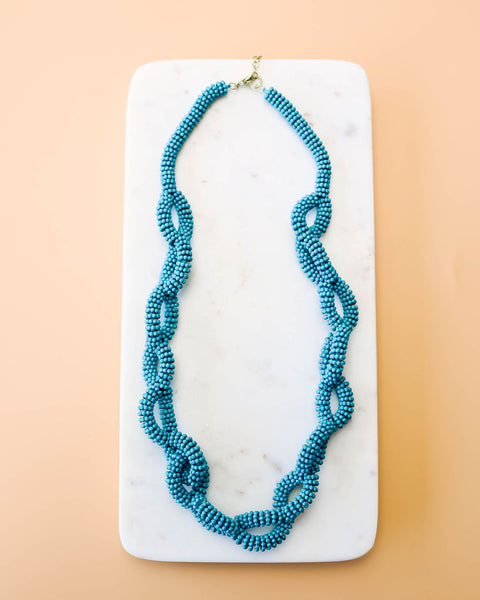 Twist + Shout Beaded Link Necklace - Teal