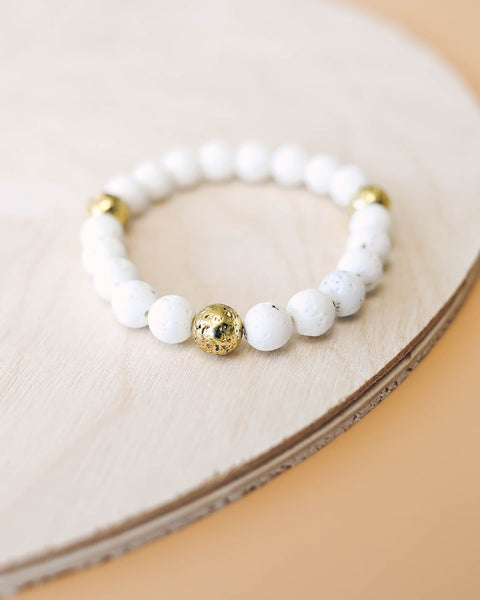 Lava Gold Beaded Bracelet - White - FINAL SALE