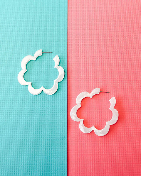 Cloverdale Resin Earrings - White