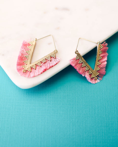 Love Triangle Fringe Statement Earrings - Pink