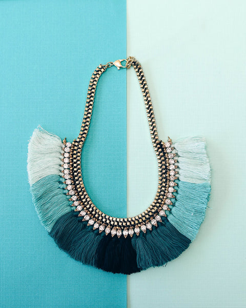 Oceanic Embellished Fringe Statement Necklace
