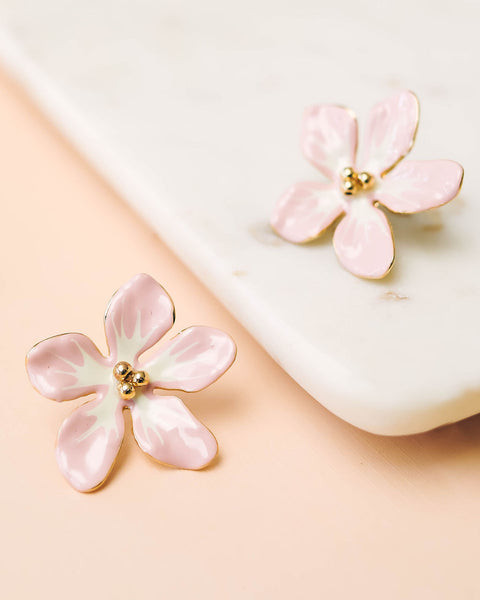SHASHI - Loving Lilies Statement Earrings - Pink