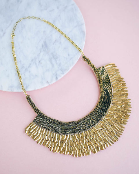 Pyramids Gold Beaded Statement Necklace - FINAL SALE